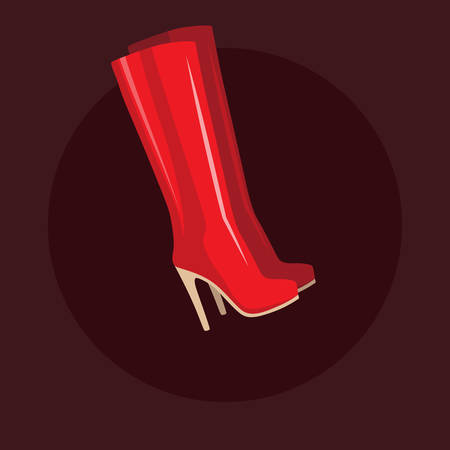 Flat design red long women boots isolated on dark background, vector illustration 矢量图像
