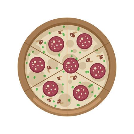 Platte ontwerp pizza icoon met champignons en salami op een witte achtergrond, vector illustratie