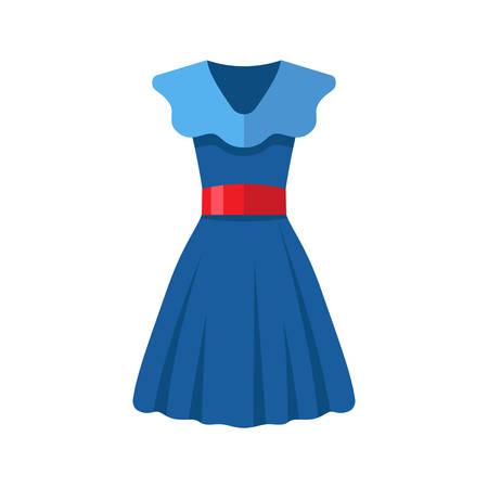 Platte design blauwe vrouw jurk pictogram met rode riem op een witte achtergrond, vector illustratie Stock Illustratie