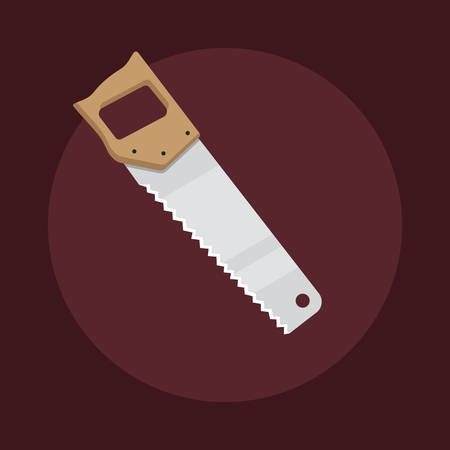 joinery: Flat design hacksaw icon isolated on dark background, vector illustration