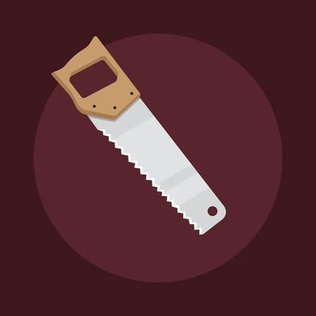 Flat design hacksaw icon isolated on dark background, vector illustration