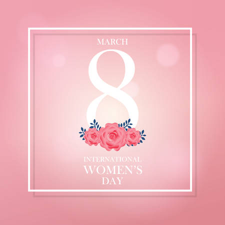 International Womens Day March 8 ribbon text design with pink roses flowers. Greeting design in gradient light pink color background. Template for a poster, cards, banner, greetings. Elegant design.