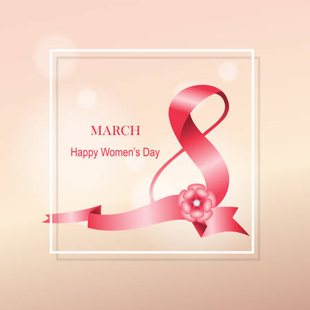 International Women's Day March 8 ribbon text design with pink flower. Greeting design in gradient light pink color background. Template for a poster, cards, banner, greetings. Elegant design. Illustration
