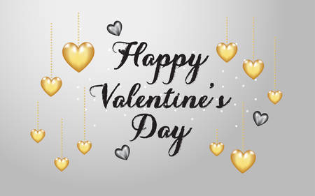 Valentine 3D gold and black hearts balloon vector in chain locket string and chalk style text. Valentines White Gray Background for greeting card, posters, banners, sale