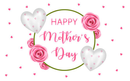 Happy Mothers Day Poster Banner Design in Pink Rose and White Foil Balloon Wreath Style. White Background with small pink hearts. Vector Illustration EPS. Illusztráció