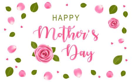 Bonne fête des mères avec rose rose, vue de dessus avec des pétales de rose et des feuilles. Fond blanc avec de petits coeurs roses. Illustration vectorielle EPS. Vecteurs