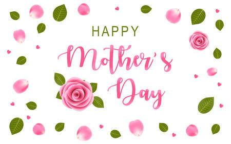 Felice festa della mamma con rosa rosa, vista dall'alto con petali e foglie di rosa. Sfondo bianco con piccoli cuori rosa. Illustrazione di vettore ENV. Vettoriali