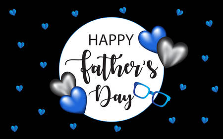 Happy Fathers Day Vector Banner in black background. Design elements blue foil balloon, black heart, sunglasses, and small blue hearts . For greetings, invitations, banners, posters, cards. Çizim