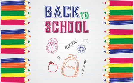 Back to school vector banner design with elements of doodled bag, apple, science icon, paint brush, alarm clock and border with colored pencil in white paper lined notebook-like background.