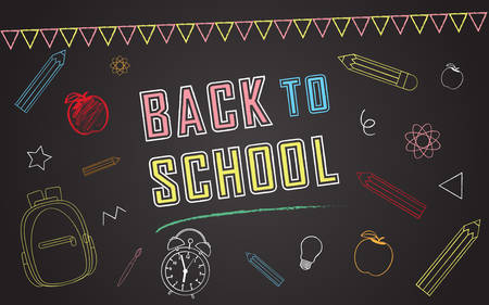 Back to school vector banner design with elements of school bag, star, apple, paint brush, idea bulb, science icon, clock, bunting flag and pencil in black chalk board background.