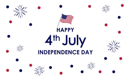 Happy 4th of July. USA Independence Day celebration background with fireworks, confetti, glitter like, american flag, text. For posters, greetings, banners, promotions, backgrounds.