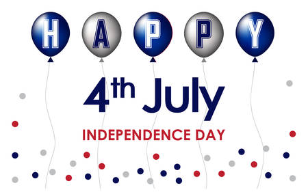 Happy 4th of July. USA Independence Day celebration in white background, foil balloons and polka dots red and blue. For posters, greetings, banners, promotions, marketing, advertising backgrounds.