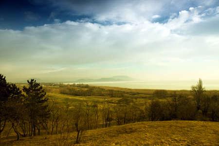 balaton: Winter on the Balaton Uplands in Hungary. Blue cloudy sky. Vivid colors.