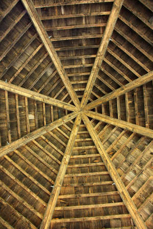 rafters: Closeup photo about a wooden roof from below