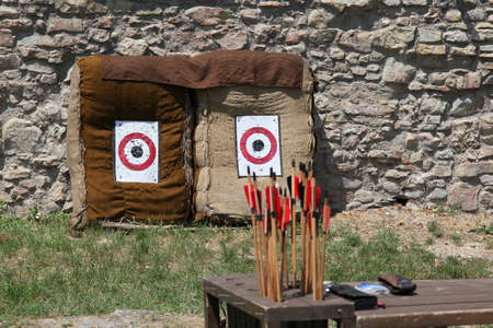 multiple targets: Arrows against the target in the nature