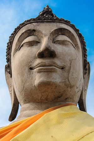 stone buddha: Stone Buddha image in ayudhya Stock Photo