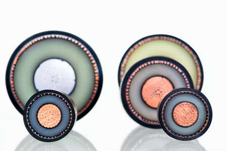 Close-up of some high voltage copper cable cross-section. abstract focus concept blurred background.