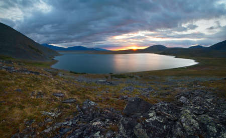 ural: Sunset in the mountains of the Polar Urals, Lake Estoto