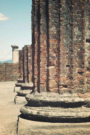 Ruined broken Roman column at Pompeii Stock Photo