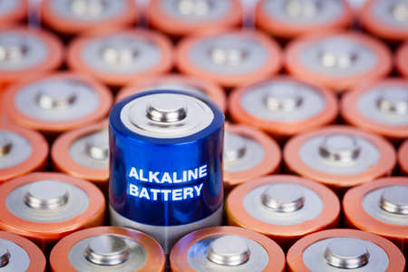 Alkaline battery AA size with selective focus on single battery
