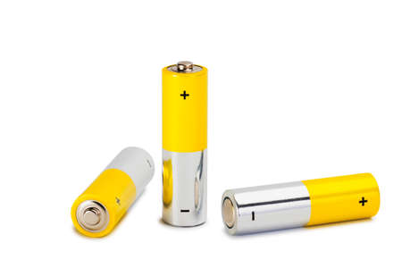 AA Batteries Closeup on white Background Stock Photo