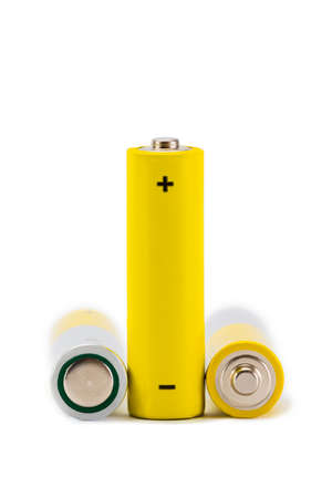 AA Batteries Closeup on white Background Banco de Imagens