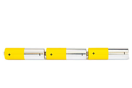 Three AA batteries are connected in a serial electrical circuit on a white background with clipped path