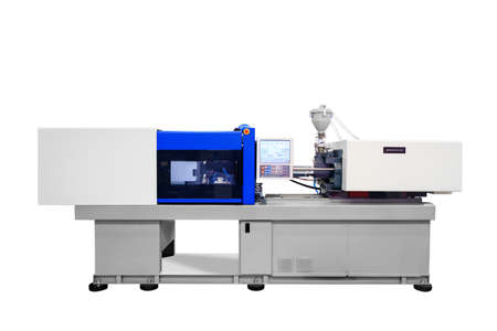 Machine for manufacture of products from plastic extrusion 스톡 콘텐츠