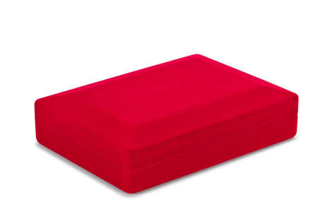 Red velvet box on white background with clipped path Stock Photo