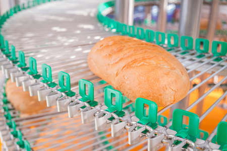 a loaf of fresh bread out of the oven on a conveyor belt on the background of the bakery. Agriculture Stock Photo