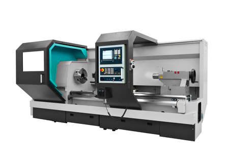 Manufacturing professional lathe machine. Industrial concept. Programmable modern digital lathe.