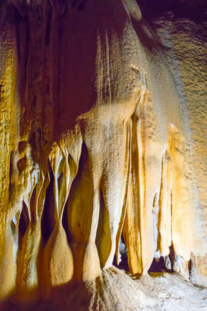 Stalactite and Stalagmite Formations in the Cave of Crimea Stock Photo