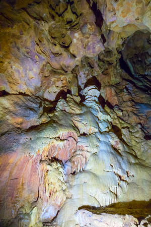 geological formation: Stalactite and Stalagmite Formations in the Cave of Crimea Stock Photo