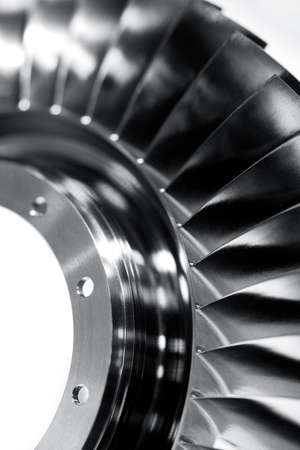 Steel blades of turbine propeller. Close up view. In BW. Selected focus on foreground