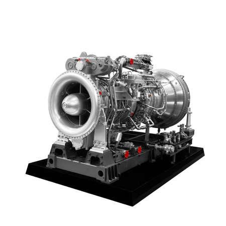 Gas turbine aircraft engine isolated on white background 스톡 콘텐츠
