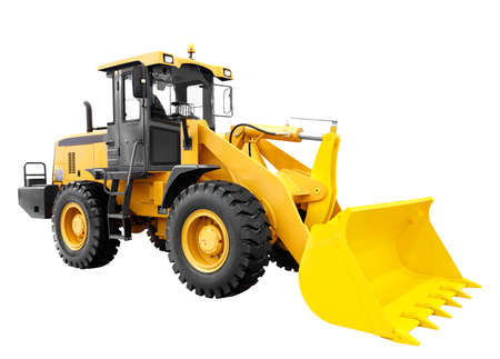 Modern yellow loader bulldozer excavator construction machinery equipment isolated on white background