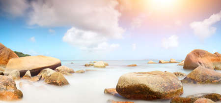 tropical ocean beach panorama background Stock Photo