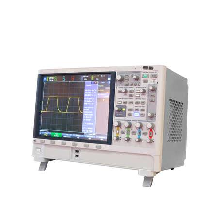 전원 분석기 3 phaze 흰색 배경에 고립 된 디지털 oscillograph