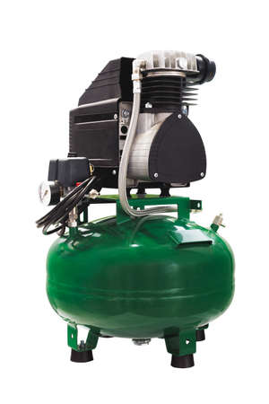 Compressor for dental equipment and for other equipment. Green, isolated on white background