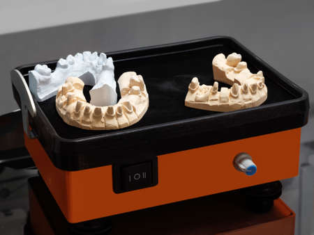 Manufacture of molds for dentures in laboratory, vibratory table