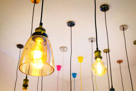 Luxury beautiful retro edison light lamp decor Stock Photo