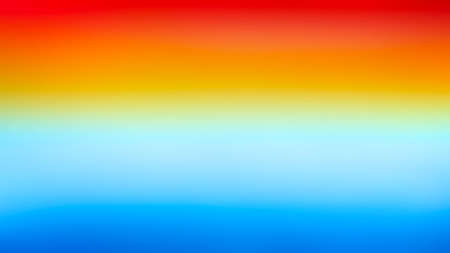 Red orange yellow blue bright gradient colorful horizontal banner watercolor texture background.  Sunrise or sea sunset blurred background. Morning or evening sea and sky blurred watercolor texture.