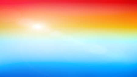Sky bright colorful horizontal banner. Sunrise or sea sunset blurred background.