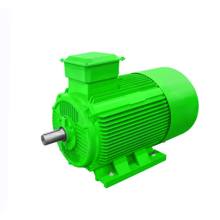 Industrial green electric motor generator  isolated on white background