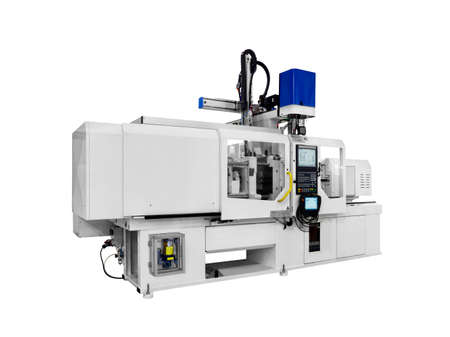 Production machine for manufacture products from pvc plastic extrusion technology Stock Photo