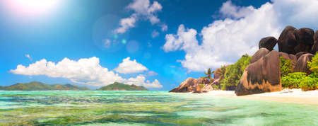 Panoramic view of a tropical island beach, Seychelles, Indian Ocean, web banner