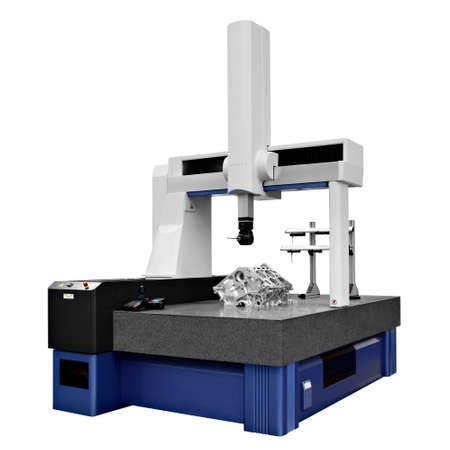The Coordinate Measuring CMM Machine isolated on a white background.  Repair motor block of cylinders, operator inspection dimension aluminium automotive par in industrial factory. 스톡 콘텐츠