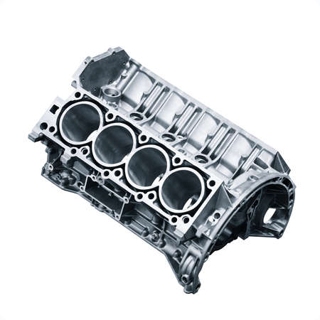 cylinder block .Automotive part, machine part isolated on a white background. engine block v8