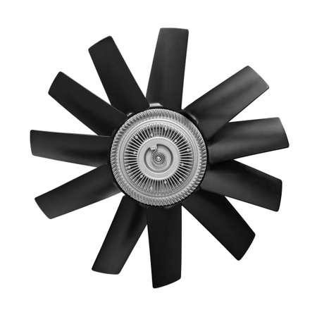 Car cooling fan with plastic blades radiator fan on white background. Car thermal clutch. radiator fan cooling on white background. Car truck details parts Car details parts. Stok Fotoğraf