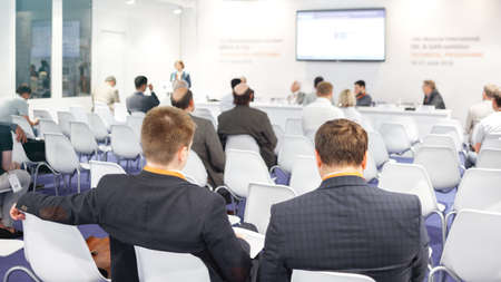 Businessman and people Listening on The Conference. Horizontal Image Stock Photo